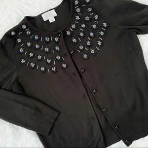 LOFT Embellished Black Cardigan